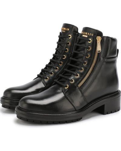 Ботинки на шнуровке кожаные армейские Balmain