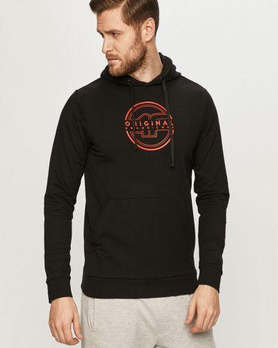 Czarna bluza z kapturem bawełniana 4f