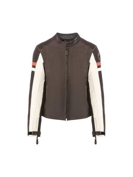 С рукавами приталенная коричневая кожаная куртка со вставками Harley Davidson