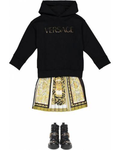 Bawełna czarny bawełna bluza z kapturem Versace Kids