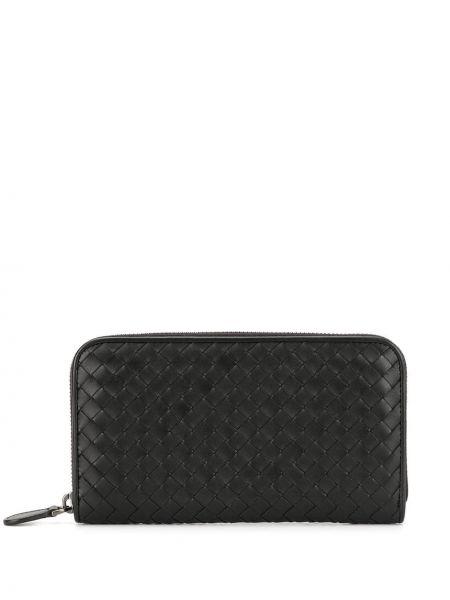 Черный кошелек круглый с карманами на молнии Bottega Veneta Pre-owned