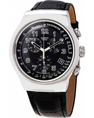 Черные с ремешком кожаные часы на кожаном ремешке Swatch