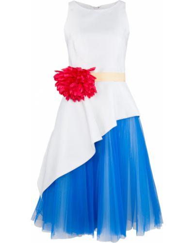 Расклешенное вечернее платье с поясом с аппликациями Carolina Herrera
