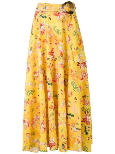 С завышенной талией желтая юбка на крючках Isolda