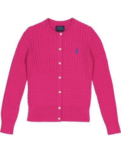 Różowy kardigan bawełniany Polo Ralph Lauren Kids