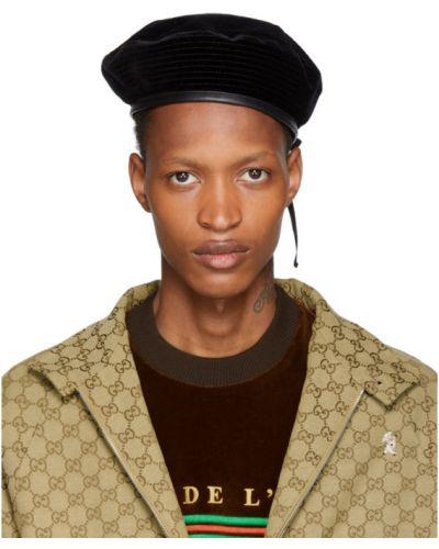 Bawełna bawełna czarny beret prążkowany Gucci
