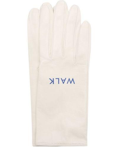 Кожаные перчатки белый Walk Of Shame