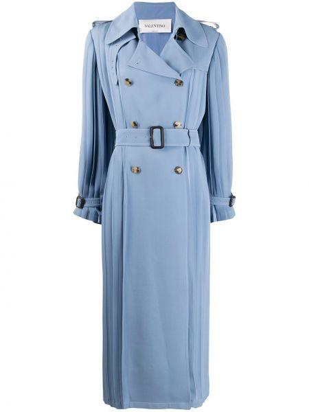 Плиссированное синее пальто классическое с воротником с поясом Valentino