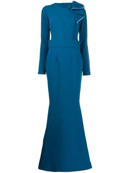 Синее платье макси с длинными рукавами с круглым вырезом круглое Safiyaa