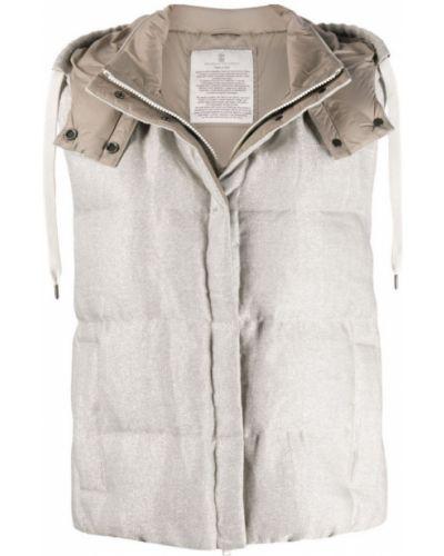 Biała kamizelka sportowa pikowana oversize Brunello Cucinelli