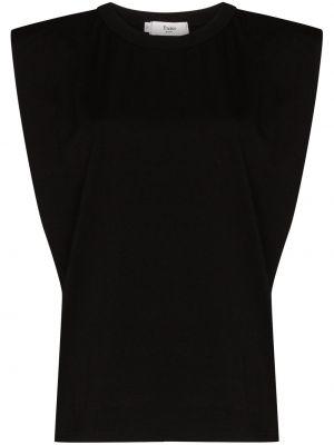 Хлопковый черный топ без рукавов с круглым вырезом Frankie Shop