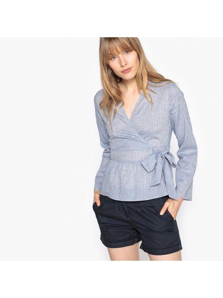 Блузка с длинным рукавом в полоску с V-образным вырезом La Redoute Collections