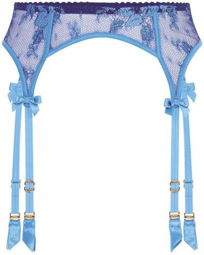 Синие чулки с поясом с вышивкой Agent Provocateur
