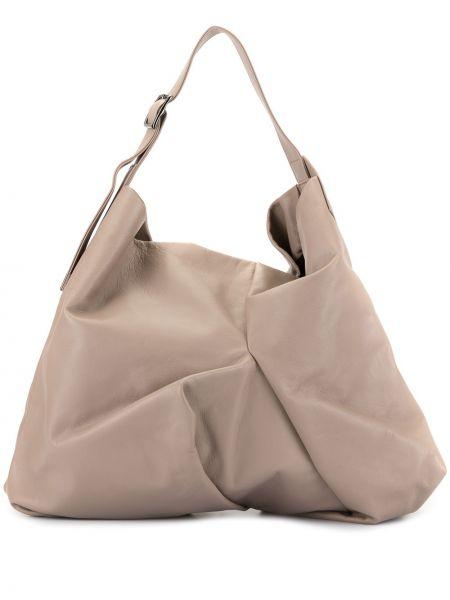 Кожаная коричневая сумка-тоут на молнии с карманами Discord Yohji Yamamoto