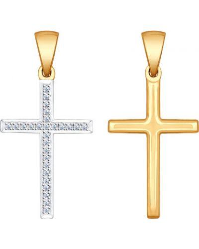 Мерцающий крест золотой с декоративной отделкой Sokolov