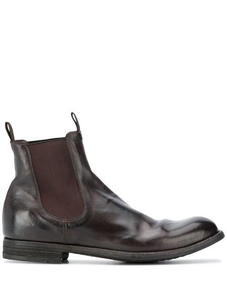 Skórzany ciemny brąz buty na pięcie okrągły na pięcie Officine Creative