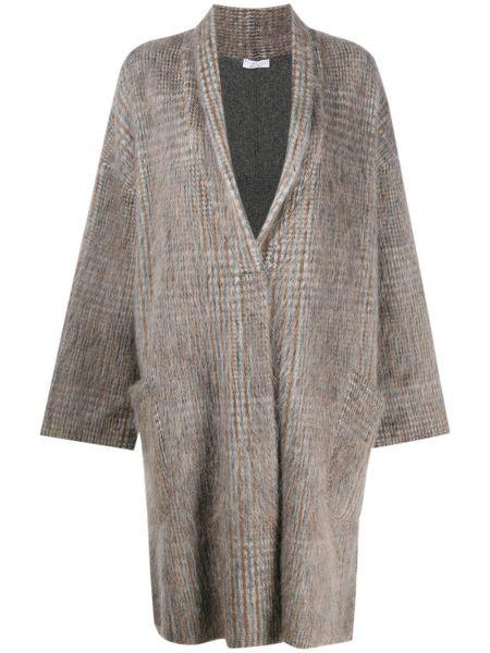 С рукавами серое пальто из мохера оверсайз Brunello Cucinelli