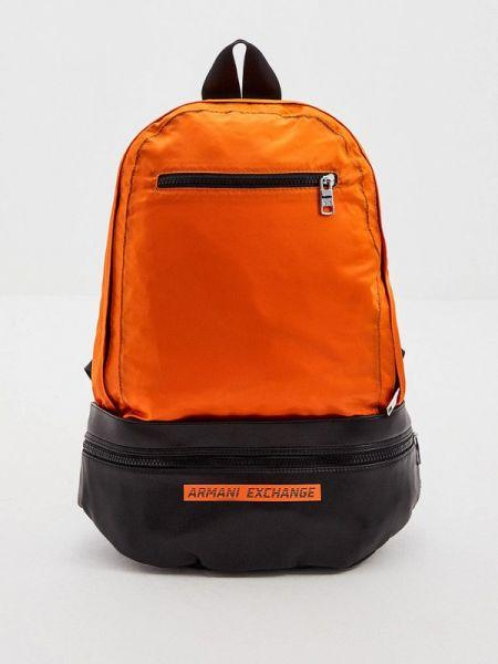 Рюкзак оранжевый из искусственной кожи Armani Exchange