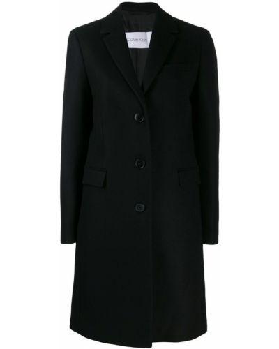 Однобортное черное пальто классическое с капюшоном Calvin Klein
