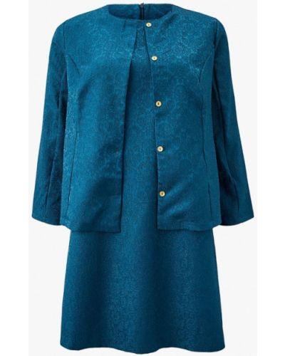 Костюмный бирюзовый юбочный костюм Prewoman