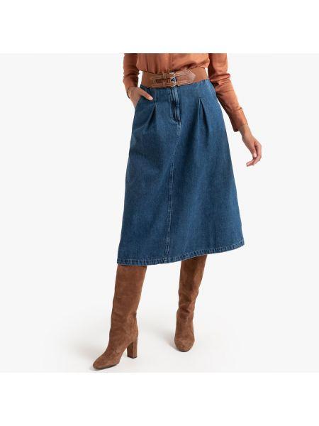 Юбка миди джинсовая с карманами La Redoute