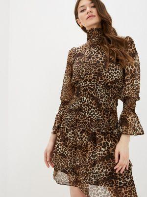 Коричневое прямое платье А-силуэта Cavo