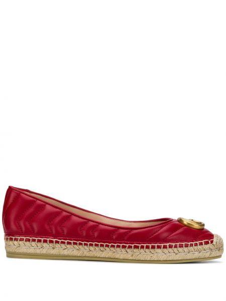 Стеганые красные кожаные эспадрильи Gucci
