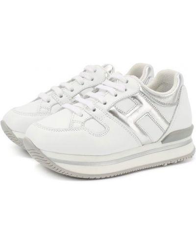 Белые кроссовки на платформе Hogan