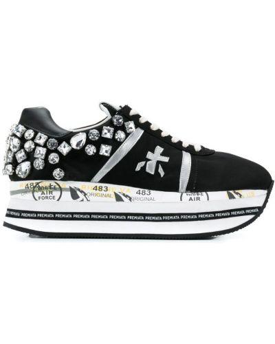 Кроссовки на платформе черные с камнями Premiata