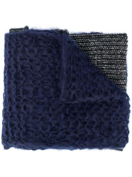 Prążkowany niebieski szalik wełniany Raf Simons