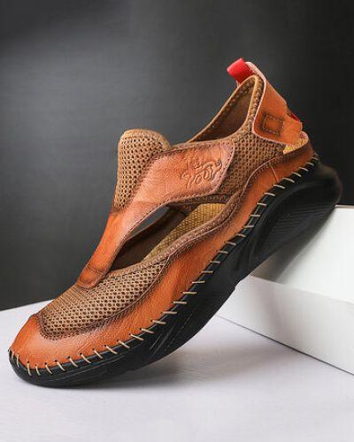Черные кожаные сандалии сетчатые Newchic