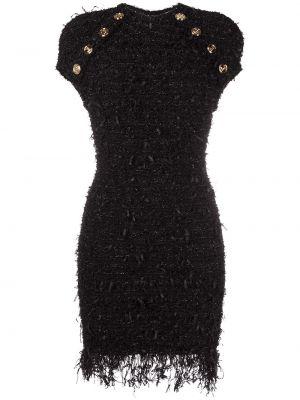Черное платье мини с бахромой с вырезом Balmain