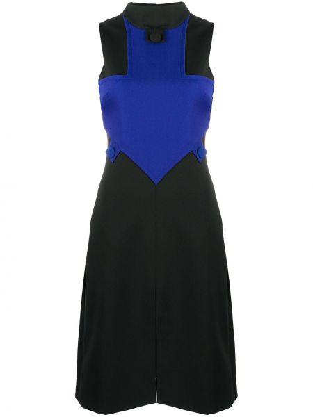Черное платье с открытой спиной с воротником без рукавов Versace Pre-owned