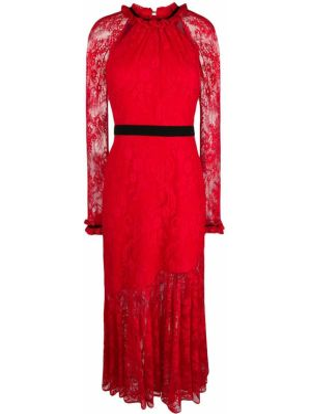 Красное расклешенное приталенное платье макси с длинными рукавами Three Floor