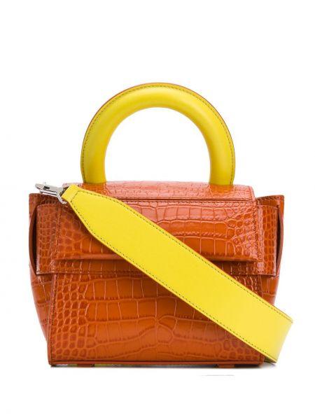Коричневая сумка-тоут с тиснением из крокодила Elena Ghisellini
