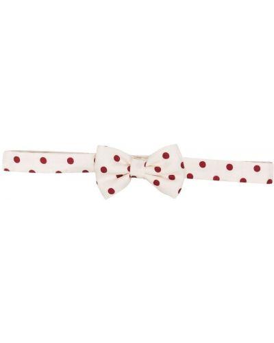 Шелковый белый галстук-бабочка в горошек Hermès