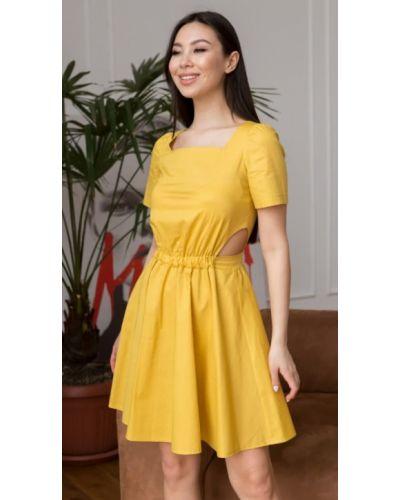Повседневное желтое платье миди из поплина Leo Pride