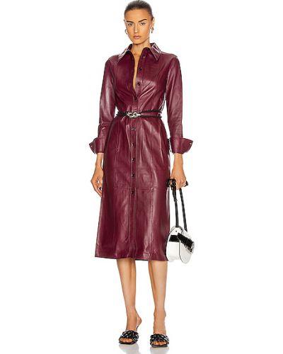 Фиолетовое кожаное платье-рубашка с подкладкой Proenza Schouler