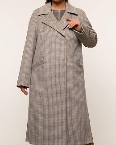 Коричневое шерстяное пальто с воротником синар