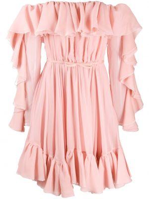 Розовое шелковое платье макси с открытыми плечами Giambattista Valli