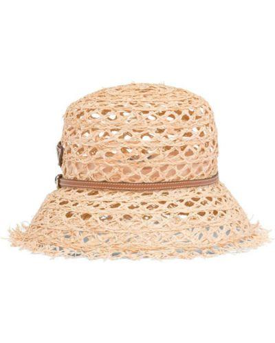Beżowa kapelusz z siateczką casual Prada
