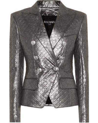 Пиджак с воротником-стойкой стеганый Balmain