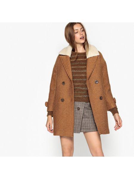 Шерстяное бежевое длинное пальто с воротником с подкладкой See U Soon