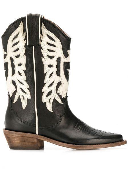 Черные кожаные ковбойские сапоги на каблуке P.a.r.o.s.h.