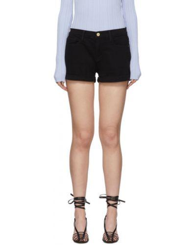 Джинсовые шорты черные с завышенной талией Frame