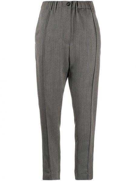 Прямые укороченные брюки с накладными карманами с заплатками из овчины Tela