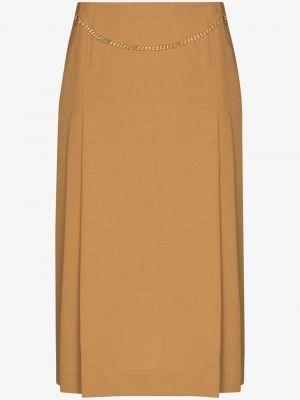 Коричневая с завышенной талией кожаная юбка миди Victoria Beckham