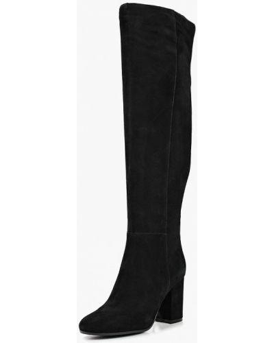 Черные ботфорты замшевые Evita
