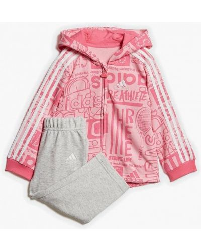 Спортивный костюм серый розовый Adidas