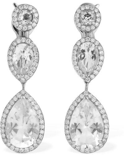 Białe złote kolczyki sztyfty z diamentem Atelier Swarovski